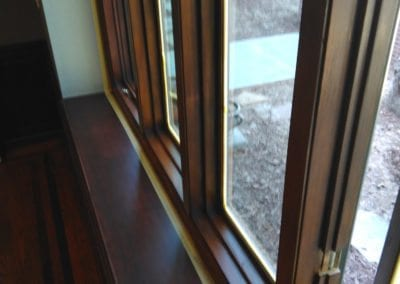 A newly stained window frame