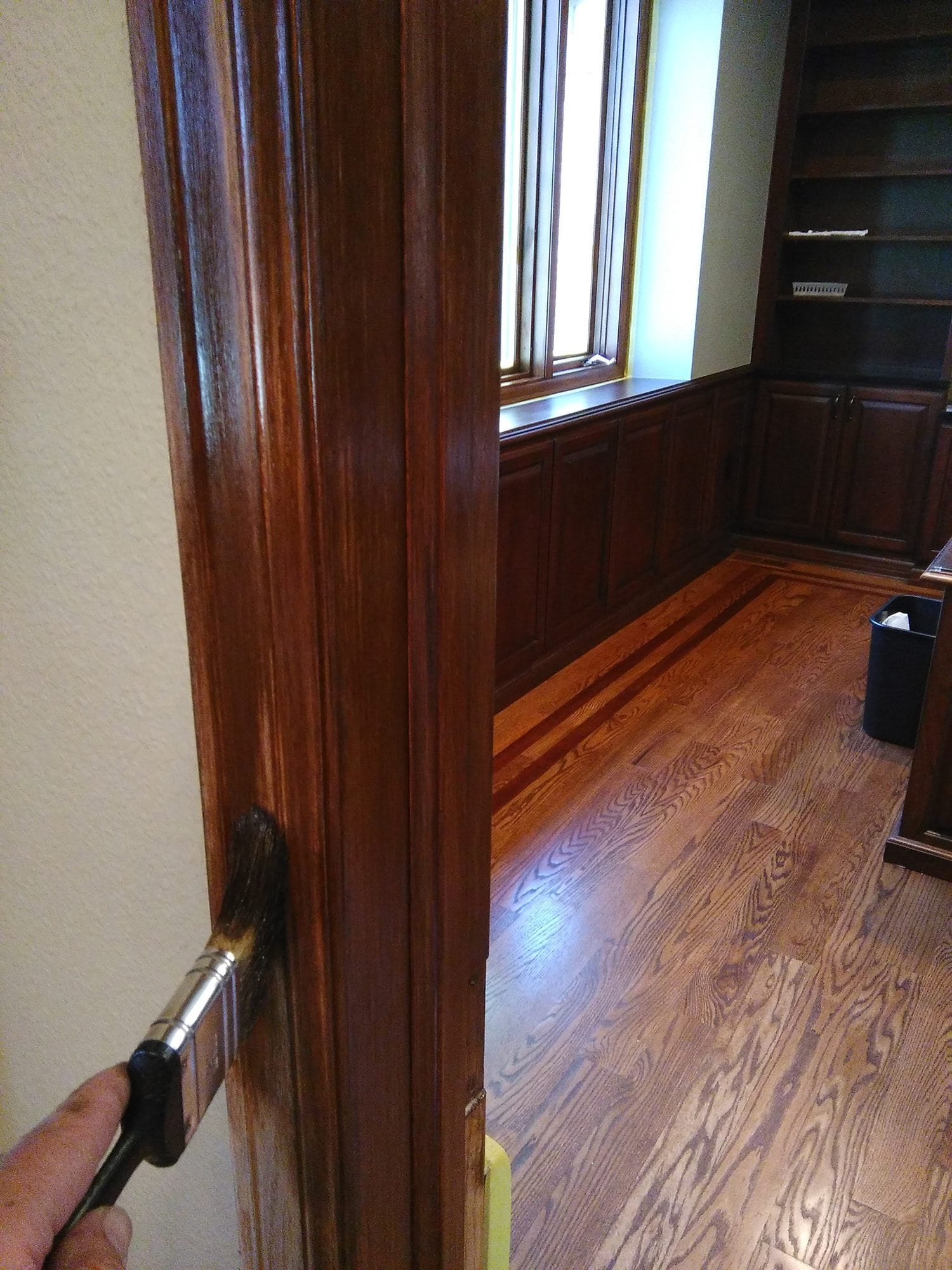 Staining Door Frame & Stain and Finish Trim to Match Surrounding Cabinets - Home Detail ...